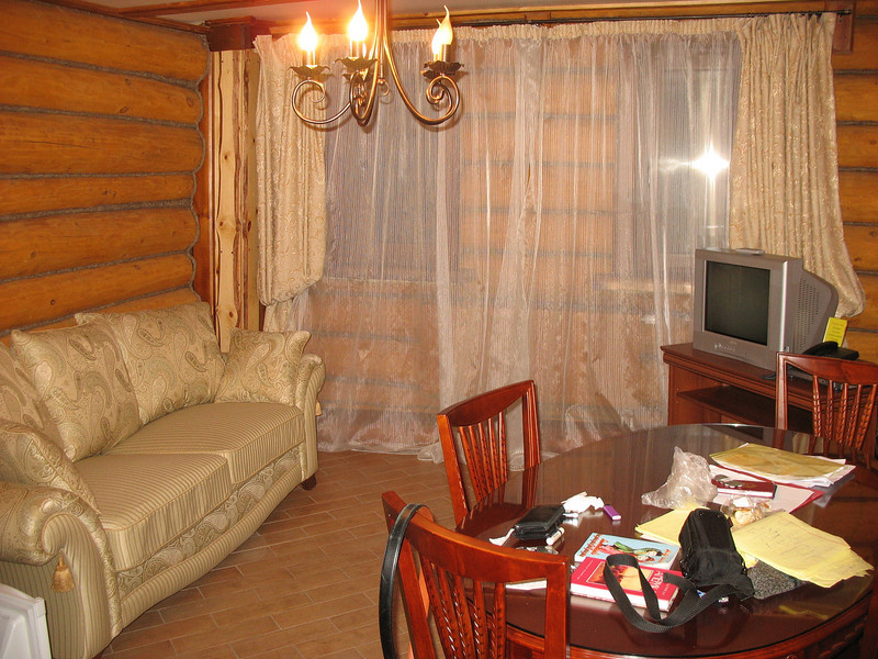"""My living room at the """"Hot Springs"""" cottage compound."""