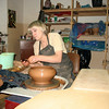 Potter at work. Dimov Ceramics Workshop.
