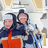 Mother & son skiing in Uglich.