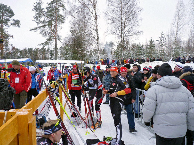 Athletes getting ready for the Cross Country World Cup at Demino. (2011)