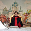 "Lindsay at the Ivan Vasilevich Restaurant in the Cinema Club complex in Yaroslavl. Линдси в ресторане ""Иоанн Васильевич"" в комплексе ""Синема Клаб"" в Ярославле."