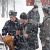 Drunk being arrested on the street in Rybinsk.