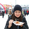 Lindsay grabs a bite to eat at Uglich's winter festival.
