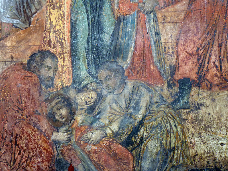 Depiction of the death of Tsarevich Dmitry in the Church of St Demetrius of the Spilled Blood. (Uglich)