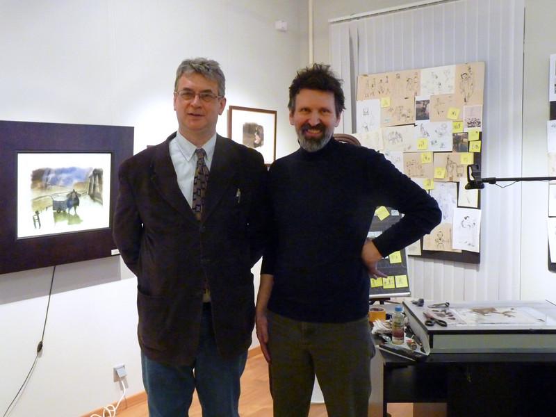 Rustem with Oscar winning animator, Alexander Petrov.