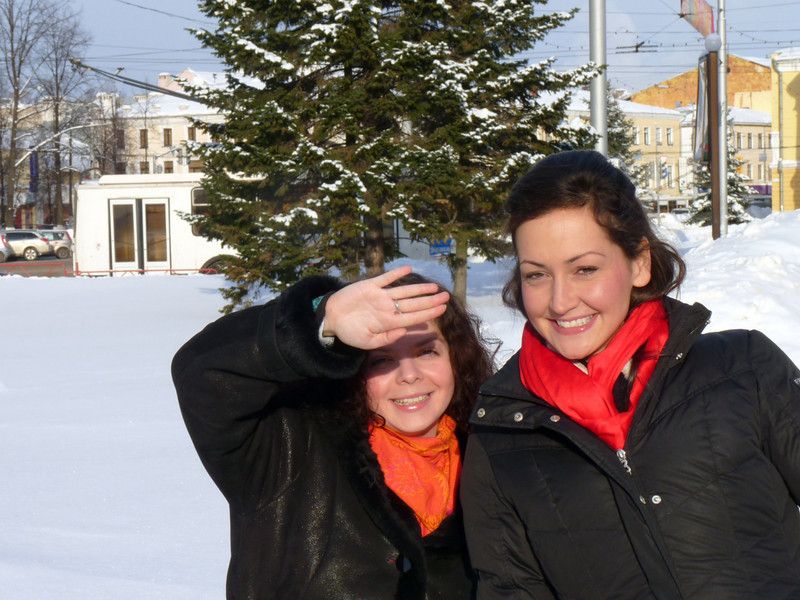Lindsay & Alyssa on a sunny winter's day in Yaroslavl.