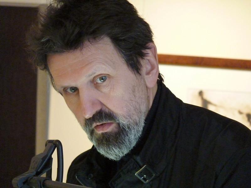 "Alexander Petrov in his Yaroslavl studio. Petrov won an Oscar for his animated version of Hemingway's, ""Old Man & The Sea"".  Художник - мультипликатор Александр Петров в своей студии в Ярославле."