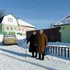 Two ladies on the street in Vyatskoe village.