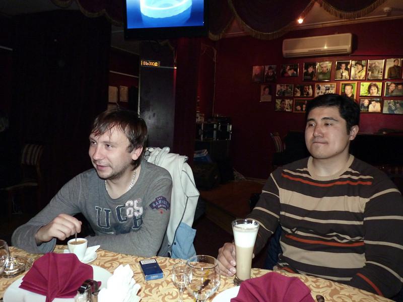 "RT assistant, Kirill, & cameraman Azat, at the Actor Café in Yaroslavl. Кирилл (ассистент) и Азат (оператор) в гостях у Ваксмана в кафе ""Актёр""."