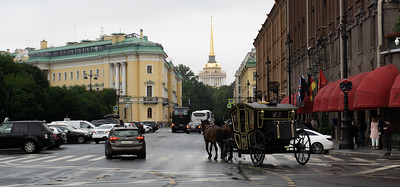 Horse-drawn buggy in St. Petersburg, Russia