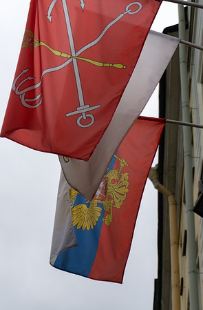 St. Petersburg and Russia Flags
