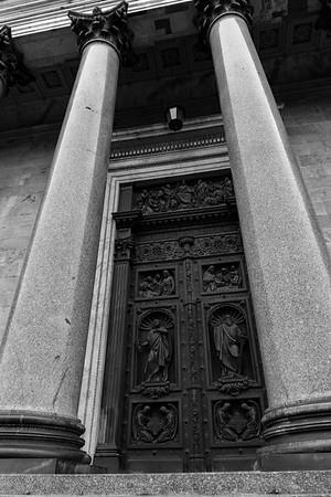 Granite columns and door of St. Isaac's, St. Petersburg, Russia