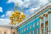 The golden spires of the Church Of The Resurrection in Catherine's Palace in St. Petersburg, Russia.