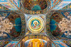 The interior of the Church on Spilled Blood in St. Petersburg, Russia.