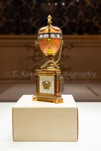 Museum pieces displayed in the Faberge Museum in St. Petersburg, Russia.