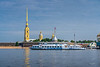 The spires of the Peter and Paul Fortress and the Neva River, St. Petersburg, Russia.
