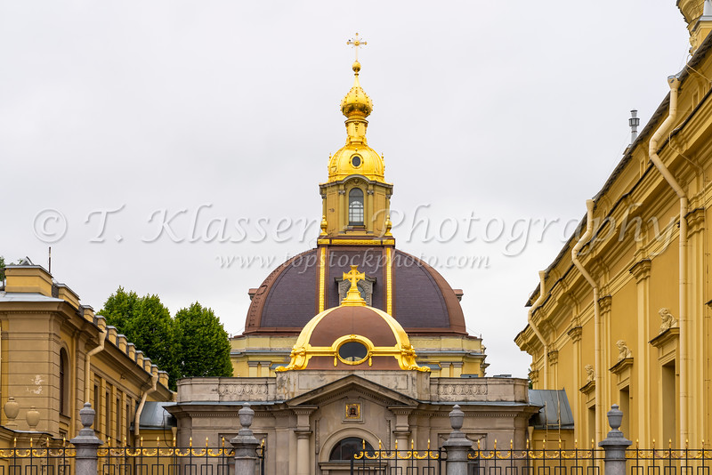The dome of the Peter and Paul Cathedral, a Russian Orthodox cathedral located inside the Peter and Paul Fortress in St. Petersburg, Russia.