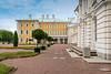 The exterior of Peterhof Palace buildings in Petergof, St. Petersburg, Russia.