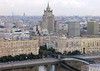 Moscow panorama from the Ukraina (now Radisson Royal) Hotel, 24 September 2004 5.  Looking south east towards Stalin's Ministry of Foreign Affairs skyscraper.