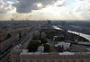 Moscow panorama from the Ukraina (now Radisson Royal) Hotel, 24 September 2004 13.  Looking west along the Kutuzovsky Prospekt and Moscow River.