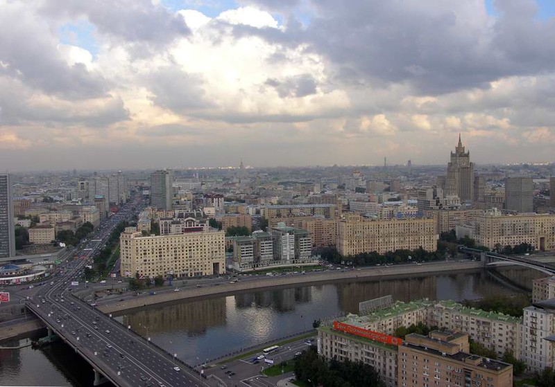 Moscow panorama from the Ukraina (now Radisson Royal) Hotel, 24 September 2004 4.  Looking east over the Moscow River towards central Moscow.  The building on the embankment with four squat towers is the British Embassy.  Another of Stalin's skyscrapers, the Ministry of Foreign Affairs, is at right.