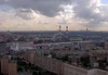 Moscow panorama from the Ukraina (now Radisson Royal) Hotel, 24 September 2004 9.  Looking south west over Kievskaya railway station to Moscow University on the skyline at right.