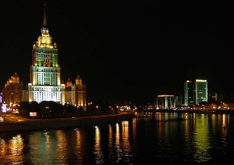 Ukraina (now Radisson Royal) Hotel and Moscow River, 23 September 2004.  Looking west along the Moscow River.  The Ukraina is one of the seven skyscrapers built in Moscow 1947 - 1953 in the final years of Stalin's rule.