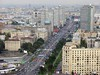 Moscow panorama from the Ukraina (now Radisson Royal) Hotel, 24 September 2004 3.  Looking east along New Arbat Street towards central Moscow.  The yellow wall and green roof of one of the Kremlin buildings can just be seen in the distance.
