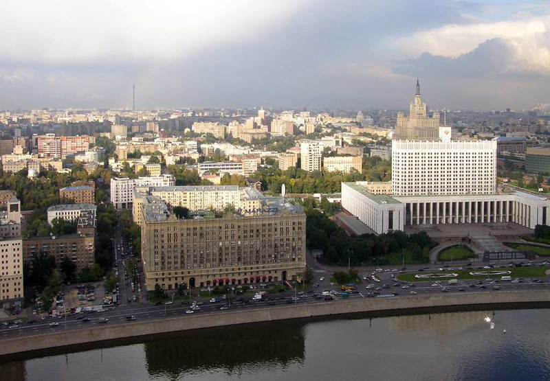 Moscow panorama from the Ukraina (now Radisson Royal) Hotel, 24 September 2004 2.  Looking north east over the Moscow River.  At right is the Russian Parliament building ('White House').  Behind it is the Kudrinskaya Square building, another  of Stalin's seven skyscrapers.