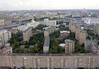 Moscow panorama from the Ukraina (now Radisson Royal) Hotel, 24 September 2004 7.  Looking south towards the Moscow River.  The white Kievskaya railway station at right.