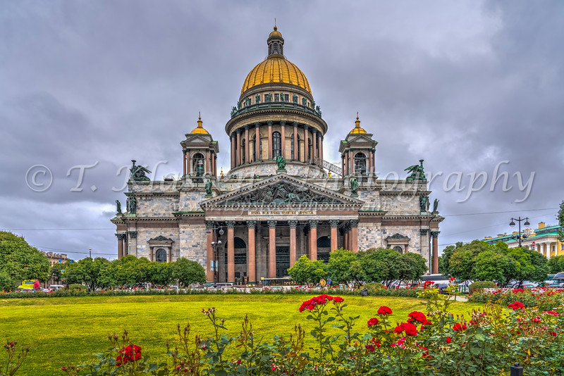 Saint Isaac's Cathedral exterior in St. Petersburg, Russia.