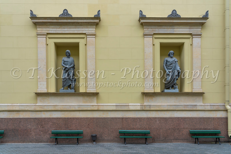 Russian architecture and sculptures in the buildings in St. Petersburg, Russia.