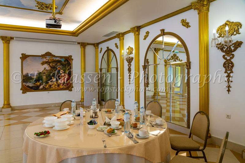 An interior view of the Pectopah Restaurant in St. Petersburg, Russia.