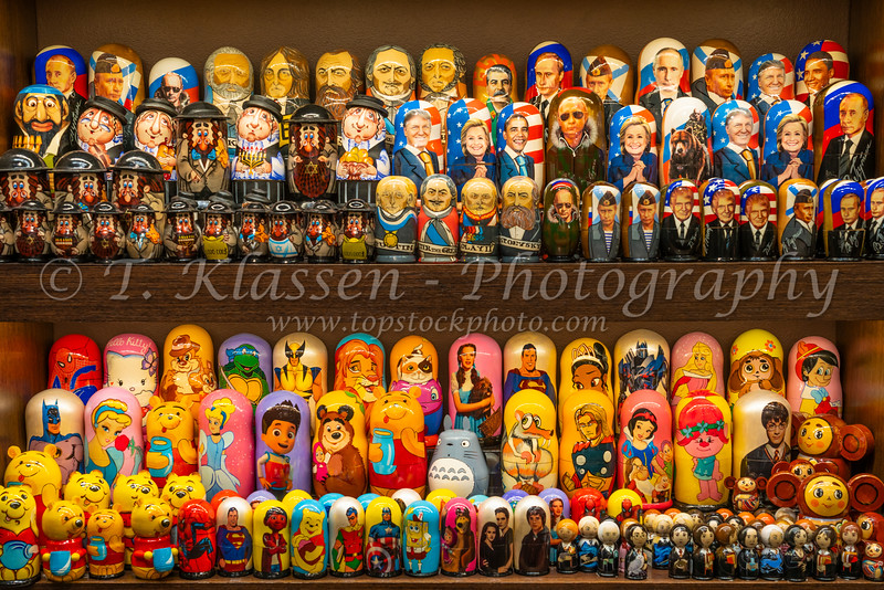 A display of Russian dolls for sale in a souvenir shop in St. Petersburg, Russia.
