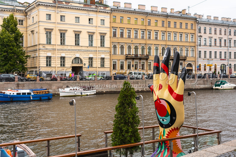 Russian architecture and ahand sculpture in St. Petersburg, Russia.