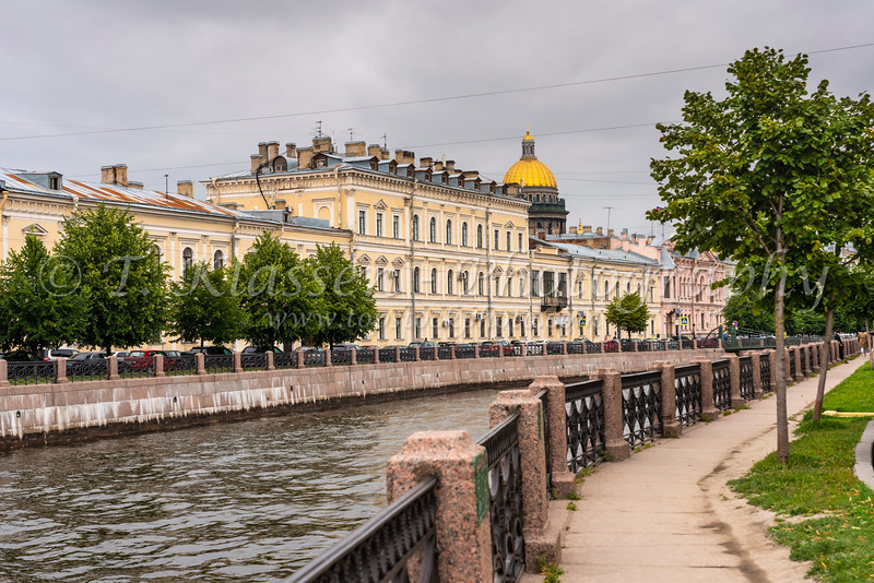 A view along the Moyka River in St. Petersburg, Russia.