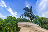 The Bronze Horseman, an equestrian statue of Peter the Great in the Senate Square in Saint Petersburg, Russia.