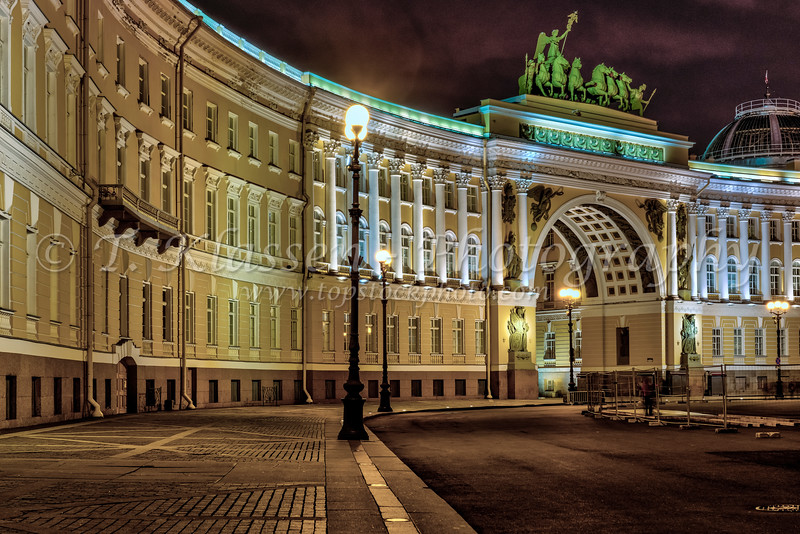 The Palace Square illuminated at night in St. Petersburg, Russia.