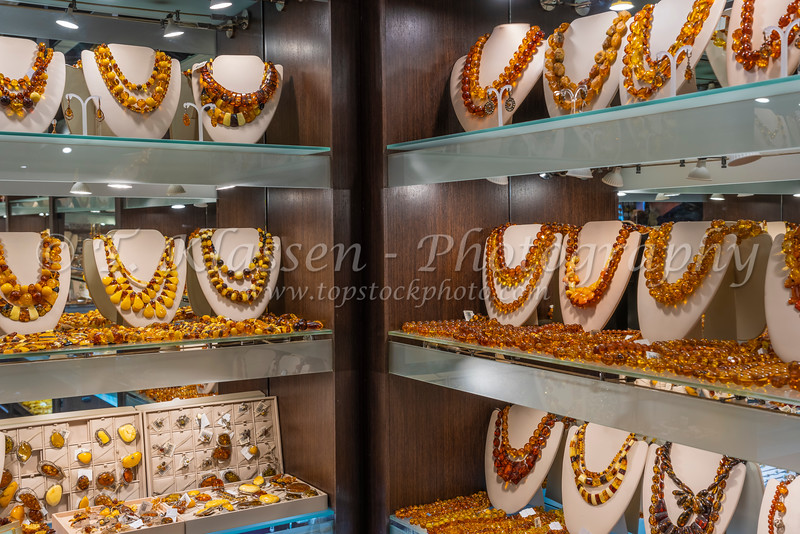 A display of jewellry in a souvenir shop in St. Petersburg, Russia.