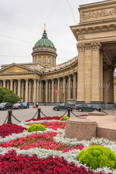 Decorative flower beds near the Kazansky Cathedral in Saint Petersburg, Russia,