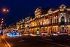 Nevsky Prospekt Street, the main pedestrian street illuminated at night in St. Petersburg Russia.