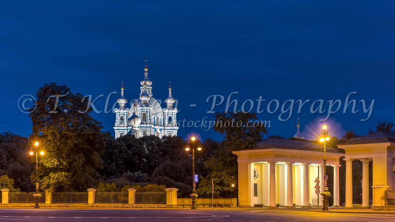 The Smolny Cathedral illuminated at night in St. Petersburg, Russia.