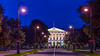 The Smolny Historical and Memorial Museum illuminated at night in St. Petersburg, Russia.