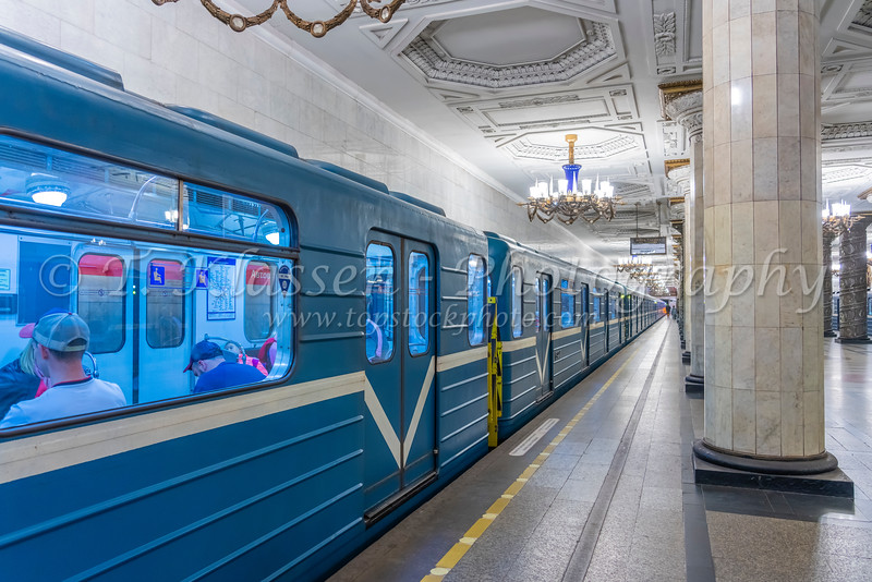 An interior view of a Metro Station in St. Petersburg, Russia.