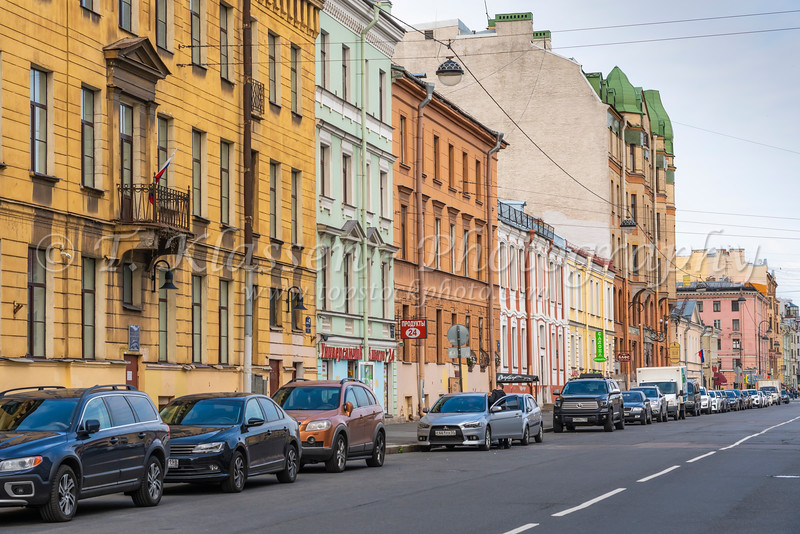 Russian architecture in the buildings in St. Petersburg, Russia.