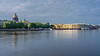 The buildings of the Constitutional Court reflected in the Neva River, St. Petersburg, Russia.