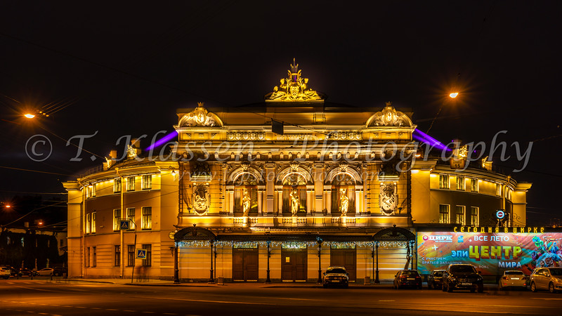 The Russian Circus building at night in St.Petersburg, Russia.