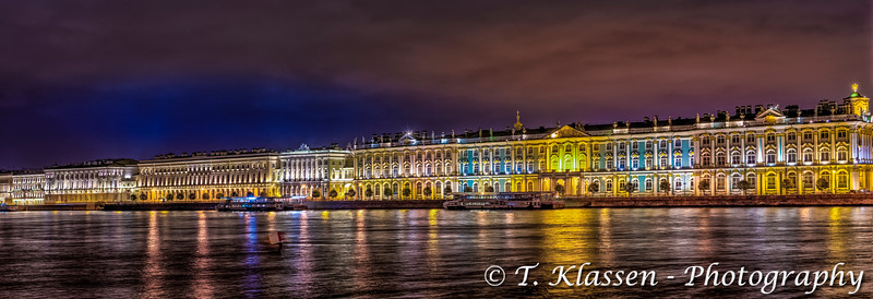 The State Hermitage Museum illuminated at night in St. Petersburg, Russia.