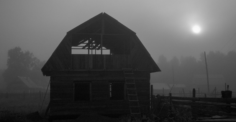 Barn in fog, near Irkutsk, 2006