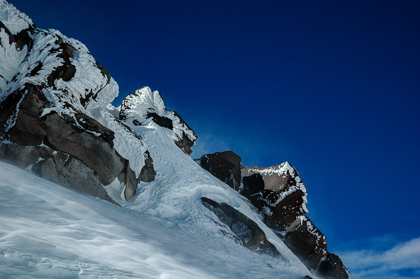 Snow-blasted rocks, Mt. Elbrus, 2006